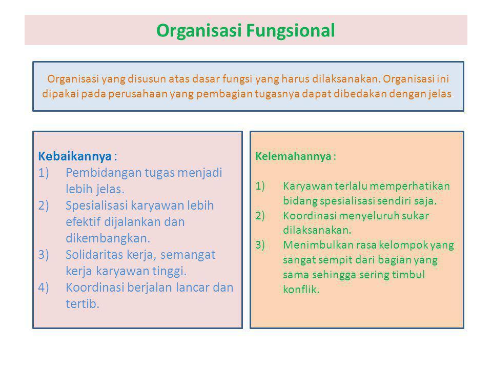 Organisasi Fungsional Organisasi yang disusun atas dasar fungsi yang harus dilaksanakan. Organisasi ini dipakai pada perusahaan yang pembagian tugasny
