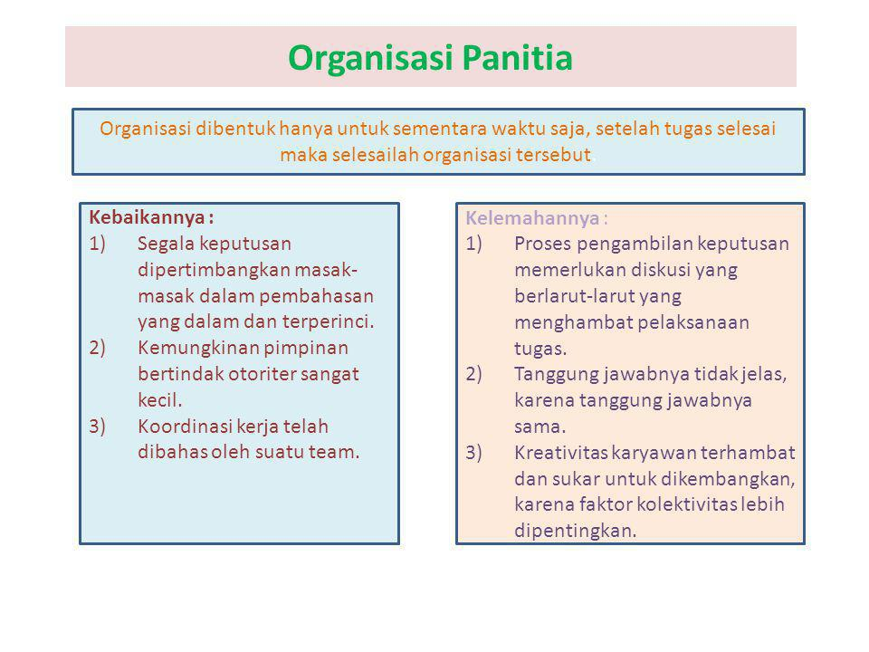 Organisasi Panitia Organisasi dibentuk hanya untuk sementara waktu saja, setelah tugas selesai maka selesailah organisasi tersebut. Kebaikannya : 1)Se