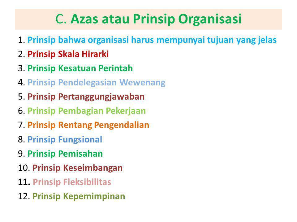 C. Azas atau Prinsip Organisasi 1. Prinsip bahwa organisasi harus mempunyai tujuan yang jelas 2. Prinsip Skala Hirarki 3. Prinsip Kesatuan Perintah 4.