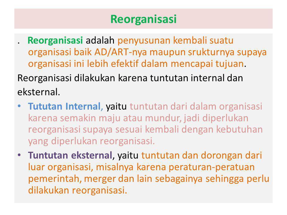 Reorganisasi. Reorganisasi adalah penyusunan kembali suatu organisasi baik AD/ART-nya maupun srukturnya supaya organisasi ini lebih efektif dalam menc