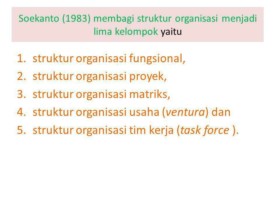 Soekanto (1983) membagi struktur organisasi menjadi lima kelompok yaitu 1.struktur organisasi fungsional, 2.struktur organisasi proyek, 3.struktur organisasi matriks, 4.struktur organisasi usaha (ventura) dan 5.struktur organisasi tim kerja (task force ).