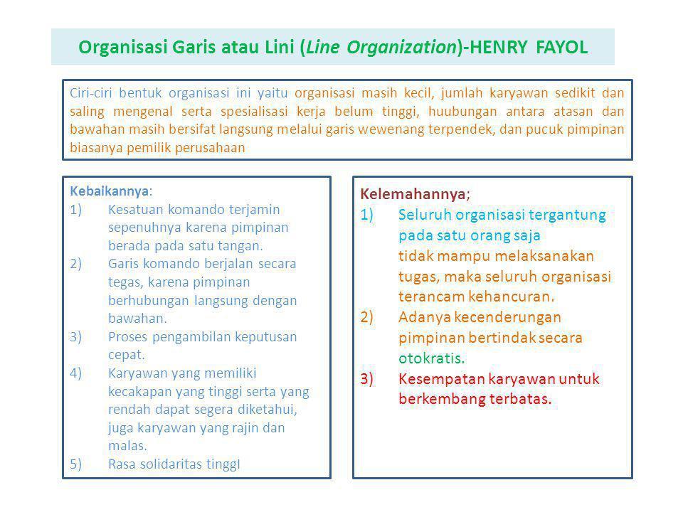 Di bawah ini menunjukan contoh gambar bentuk organisasi lini: