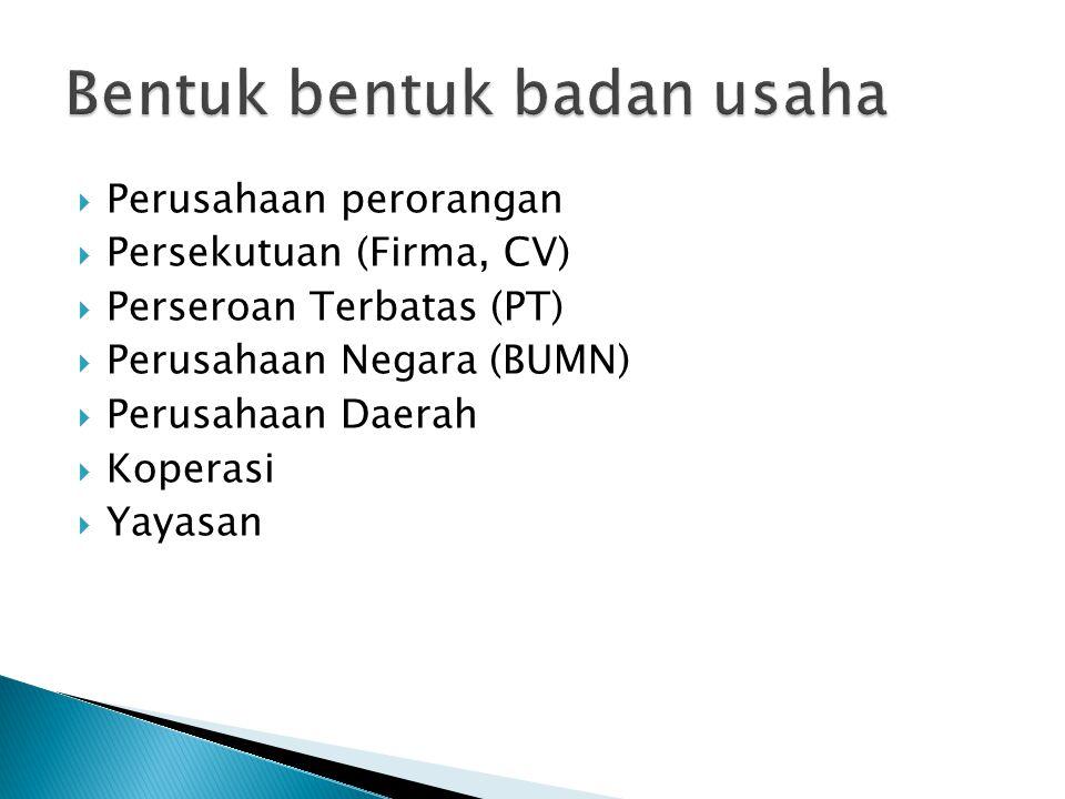  Perusahaan perorangan  Persekutuan (Firma, CV)  Perseroan Terbatas (PT)  Perusahaan Negara (BUMN)  Perusahaan Daerah  Koperasi  Yayasan