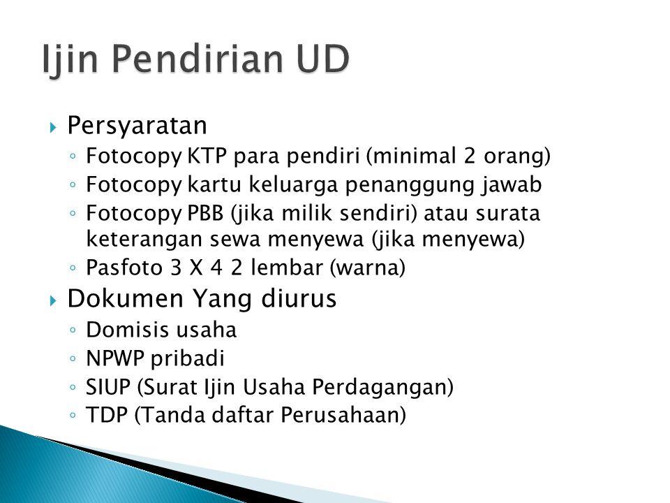  Persyaratan ◦ Fotocopy KTP para pendiri (minimal 2 orang) ◦ Fotocopy kartu keluarga penanggung jawab ◦ Fotocopy PBB (jika milik sendiri) atau surata