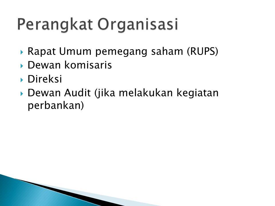  Rapat Umum pemegang saham (RUPS)  Dewan komisaris  Direksi  Dewan Audit (jika melakukan kegiatan perbankan)