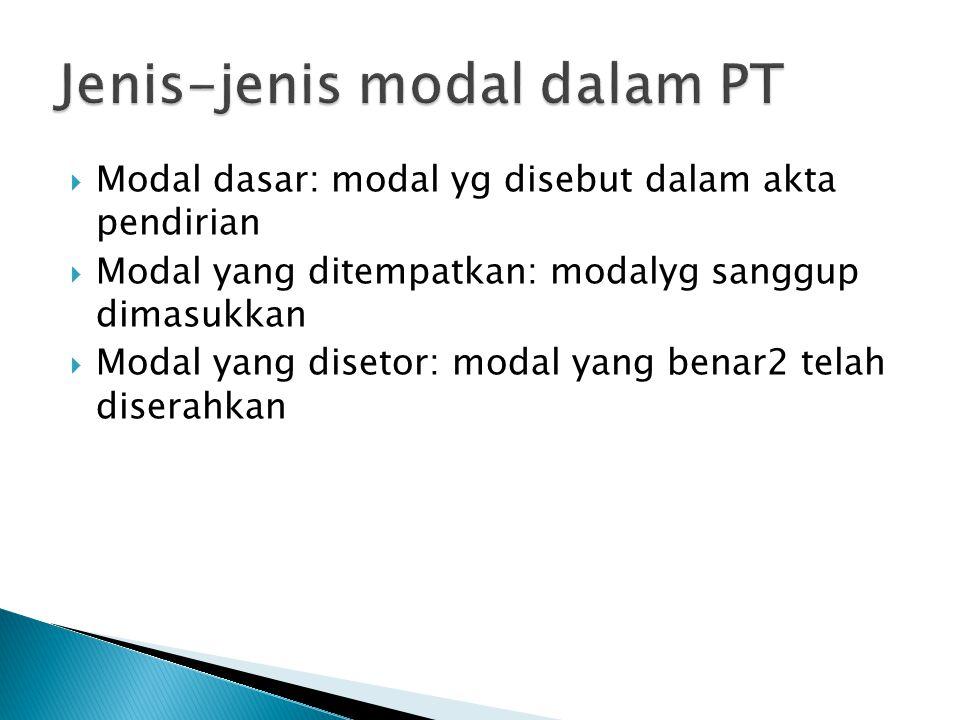  Modal dasar: modal yg disebut dalam akta pendirian  Modal yang ditempatkan: modalyg sanggup dimasukkan  Modal yang disetor: modal yang benar2 tela