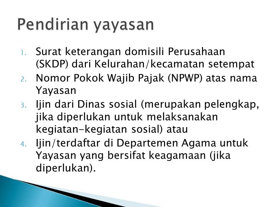 1. Surat keterangan domisili Perusahaan (SKDP) dari Kelurahan/kecamatan setempat 2. Nomor Pokok Wajib Pajak (NPWP) atas nama Yayasan 3. Ijin dari Dina