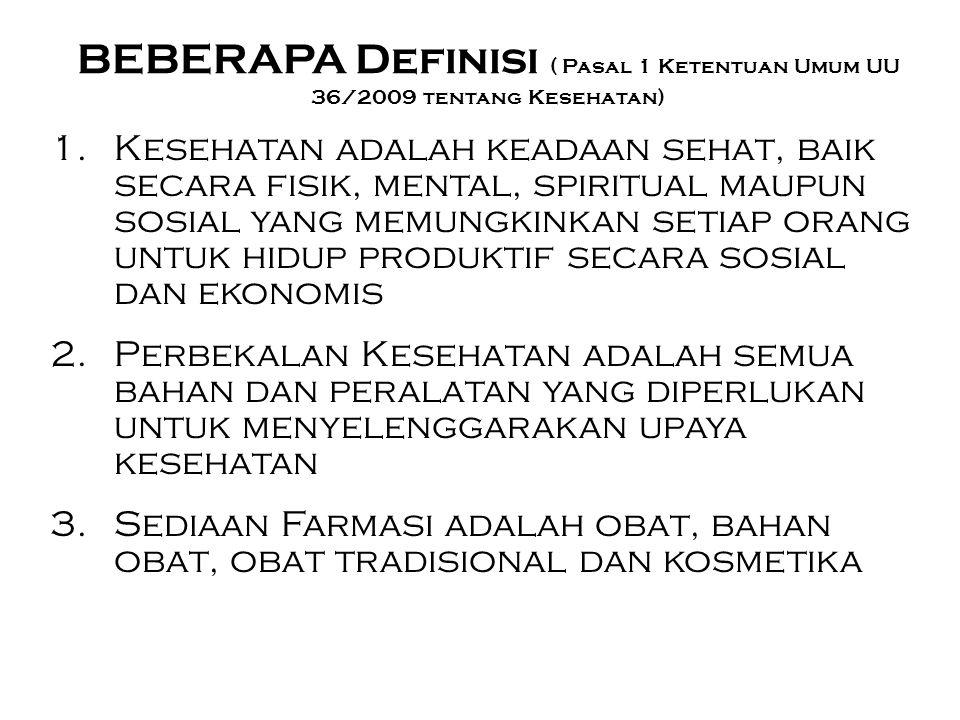 BEBERAPA Definisi ( Pasal 1 Ketentuan Umum UU 36/2009 tentang Kesehatan) 1.Kesehatan adalah keadaan sehat, baik secara fisik, mental, spiritual maupun