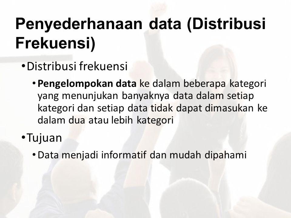 Penyederhanaan data (Distribusi Frekuensi) Distribusi frekuensi Pengelompokan data ke dalam beberapa kategori yang menunjukan banyaknya data dalam set