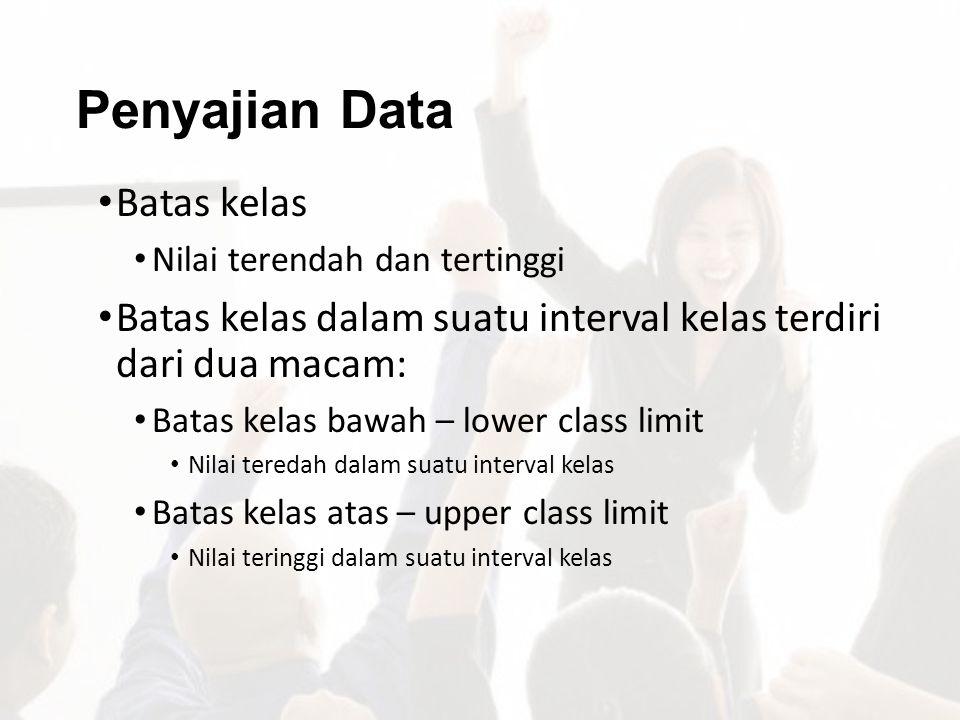 Penyajian Data Batas kelas Nilai terendah dan tertinggi Batas kelas dalam suatu interval kelas terdiri dari dua macam: Batas kelas bawah – lower class