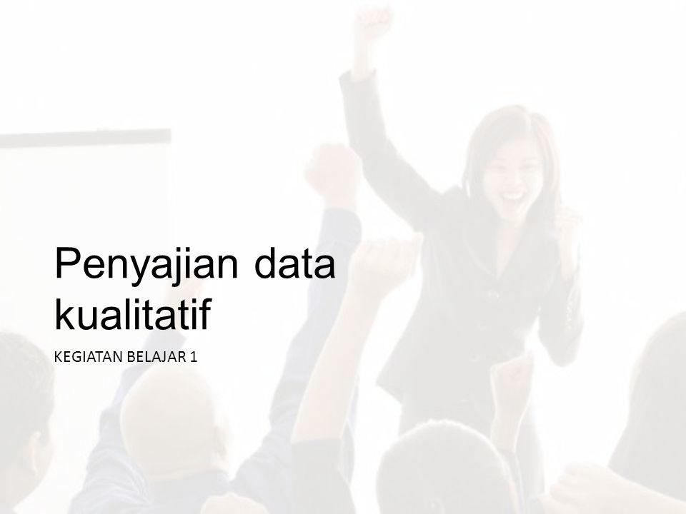 Data Kualitatif Data kualitatif umumnya dihasilkan dari pertanyaan terbuka (pertanyaan yang kategori jawabannya tidak dibatasi oleh si peneliti).