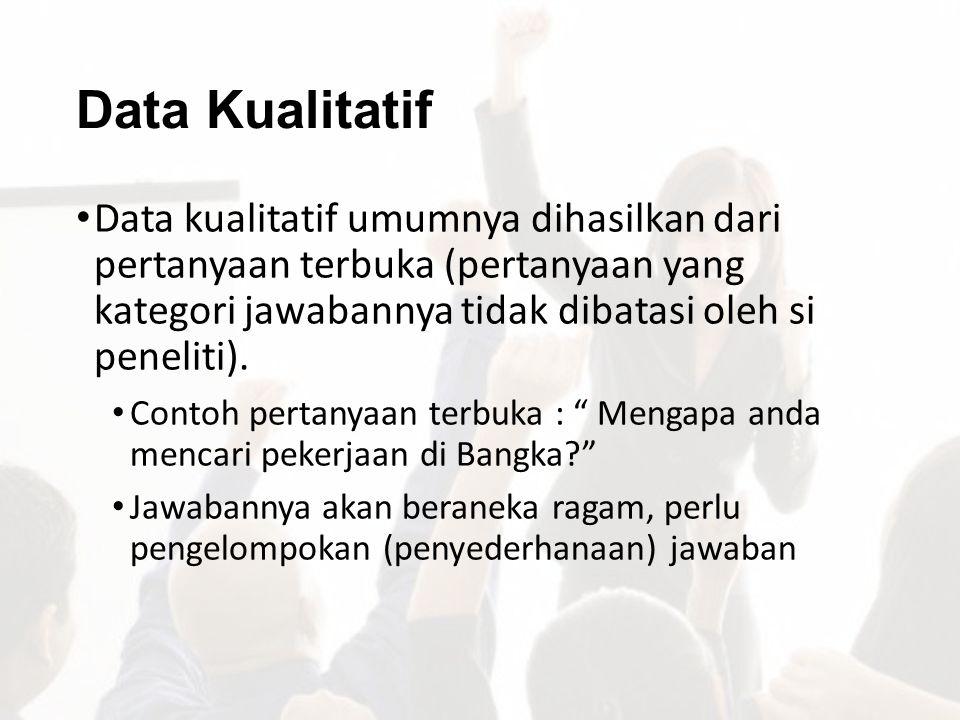 Data Kualitatif Data kualitatif umumnya dihasilkan dari pertanyaan terbuka (pertanyaan yang kategori jawabannya tidak dibatasi oleh si peneliti). Cont