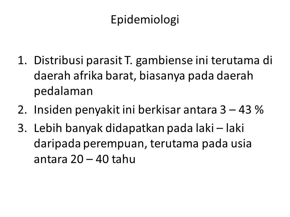 Epidemiologi 1.Distribusi parasit T. gambiense ini terutama di daerah afrika barat, biasanya pada daerah pedalaman 2.Insiden penyakit ini berkisar ant