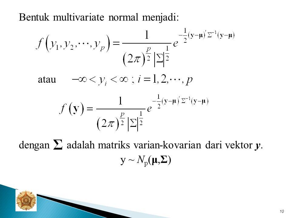 Teorema: MGF Multivariate Normal Jika berdistribusi, maka MGF-nya: Dua sifat penting dari MGF: 1.