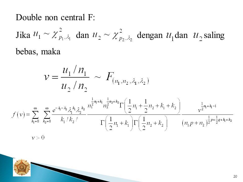 Teorema  Jika, maka jika & hanya jika A adl matriks idempoten dengan rank k.