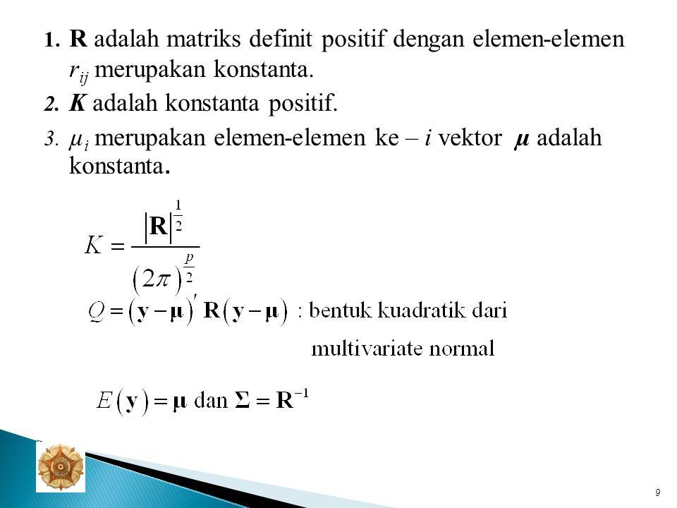 Bentuk multivariate normal menjadi: atau dengan adalah matriks varian-kovarian dari vektor y.