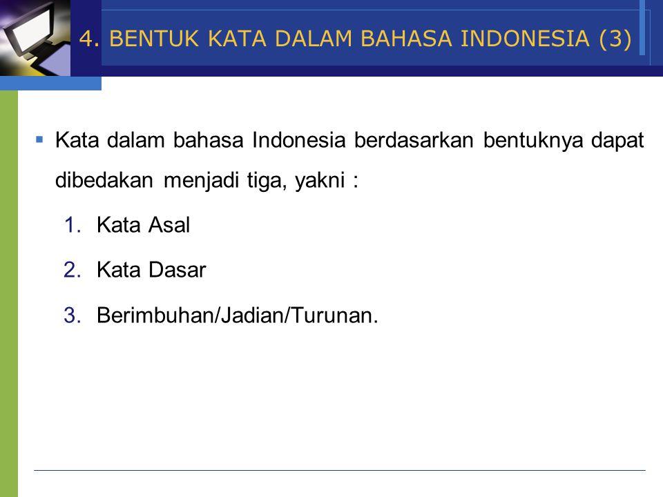 www.themegallery.com Company Name  Kata dalam bahasa Indonesia berdasarkan bentuknya dapat dibedakan menjadi tiga, yakni : 1.Kata Asal 2.Kata Dasar 3.Berimbuhan/Jadian/Turunan.