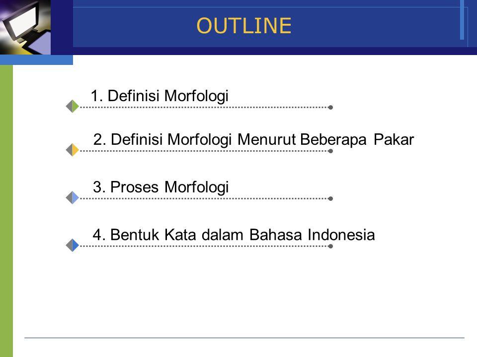 www.themegallery.com Company Name OUTLINE 1. Definisi Morfologi 2. Definisi Morfologi Menurut Beberapa Pakar 3. Proses Morfologi 4. Bentuk Kata dalam