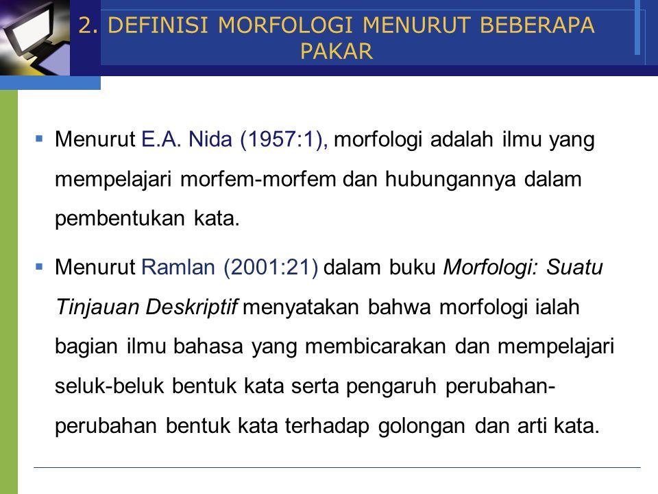 www.themegallery.com Company Name 2. DEFINISI MORFOLOGI MENURUT BEBERAPA PAKAR  Menurut E.A. Nida (1957:1), morfologi adalah ilmu yang mempelajari mo