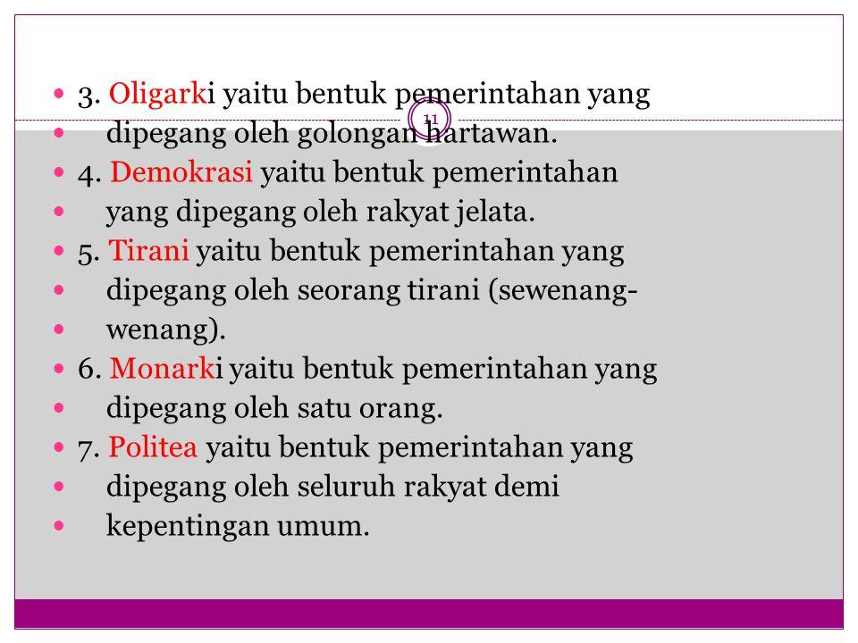 11 3.Oligarki yaitu bentuk pemerintahan yang dipegang oleh golongan hartawan.