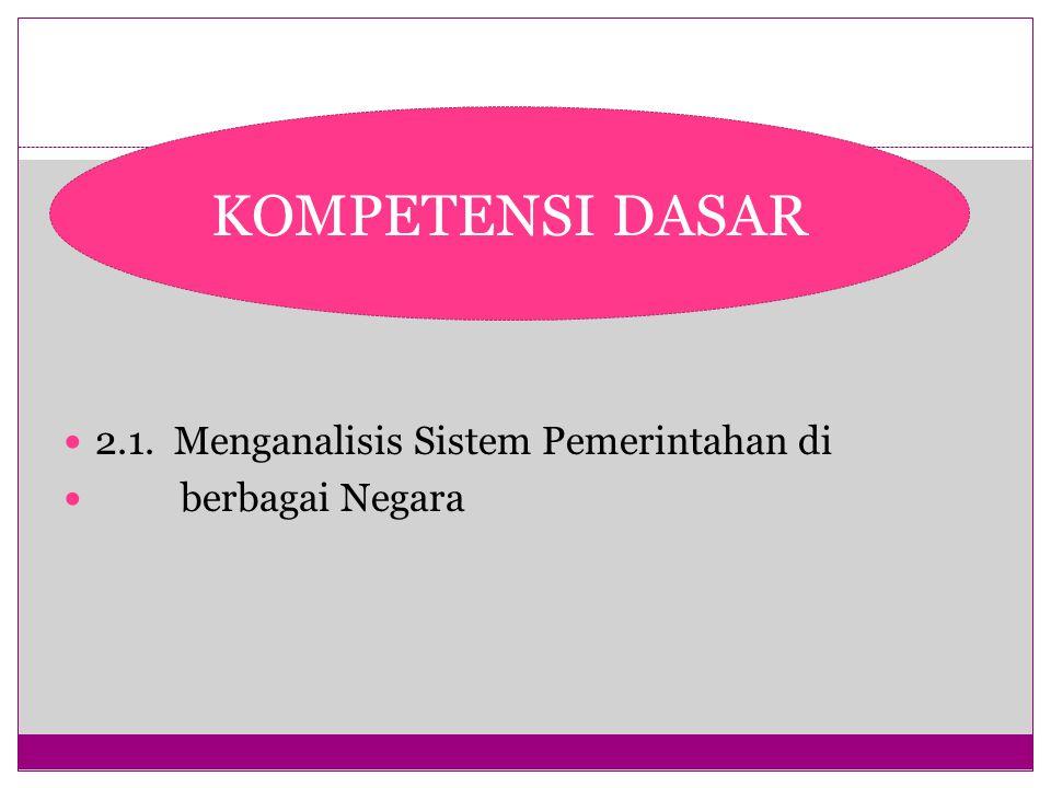 5 2.1. Menganalisis Sistem Pemerintahan di berbagai Negara KOMPETENSI DASAR