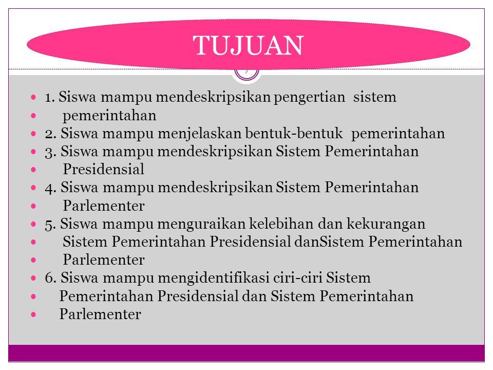 7 1.Siswa mampu mendeskripsikan pengertian sistem pemerintahan 2.