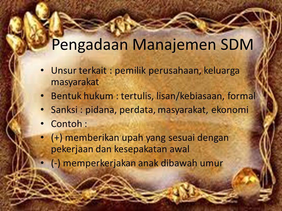 Pengadaan Manajemen SDM Unsur terkait : pemilik perusahaan, keluarga masyarakat Bentuk hukum : tertulis, lisan/kebiasaan, formal Sanksi : pidana, perd