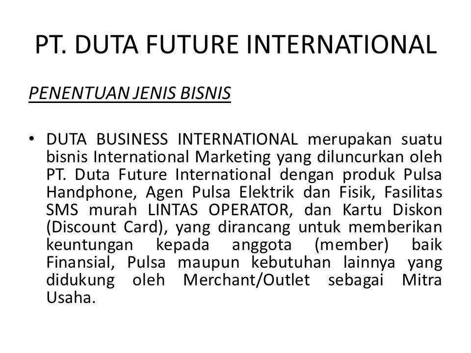 PT. DUTA FUTURE INTERNATIONAL PENENTUAN JENIS BISNIS DUTA BUSINESS INTERNATIONAL merupakan suatu bisnis International Marketing yang diluncurkan oleh
