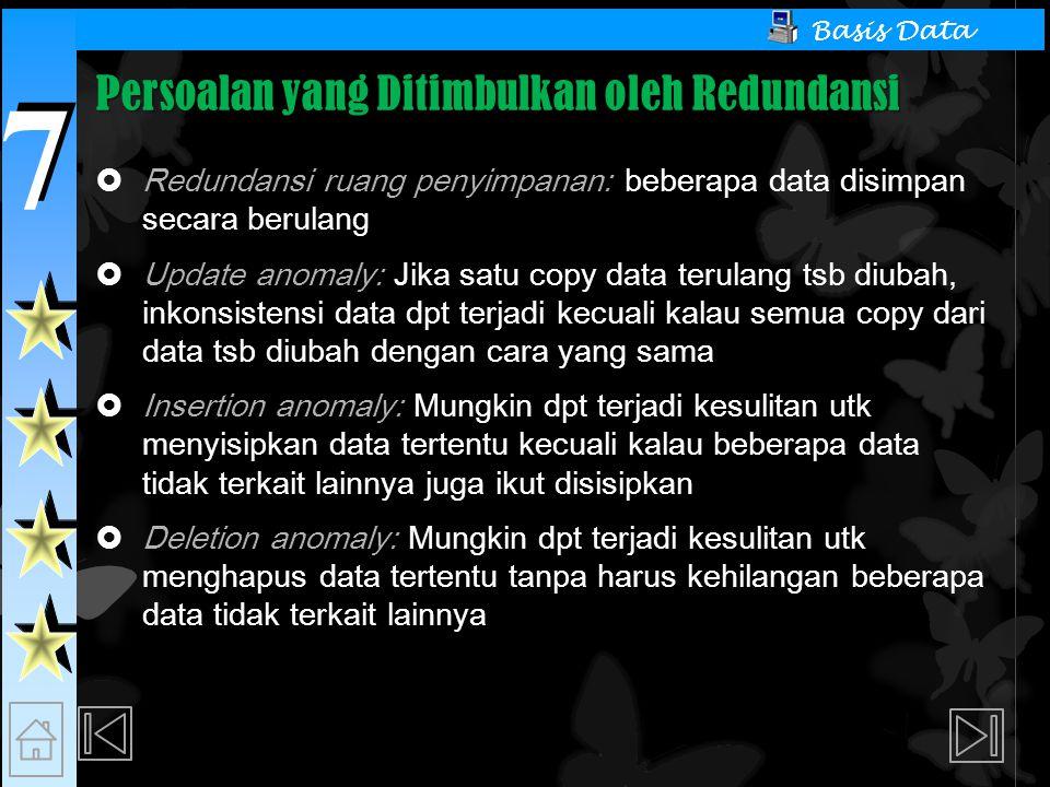 7 7 Basis Data Persoalan yang Ditimbulkan oleh Redundansi  Redundansi ruang penyimpanan: beberapa data disimpan secara berulang  Update anomaly: Jika satu copy data terulang tsb diubah, inkonsistensi data dpt terjadi kecuali kalau semua copy dari data tsb diubah dengan cara yang sama  Insertion anomaly: Mungkin dpt terjadi kesulitan utk menyisipkan data tertentu kecuali kalau beberapa data tidak terkait lainnya juga ikut disisipkan  Deletion anomaly: Mungkin dpt terjadi kesulitan utk menghapus data tertentu tanpa harus kehilangan beberapa data tidak terkait lainnya