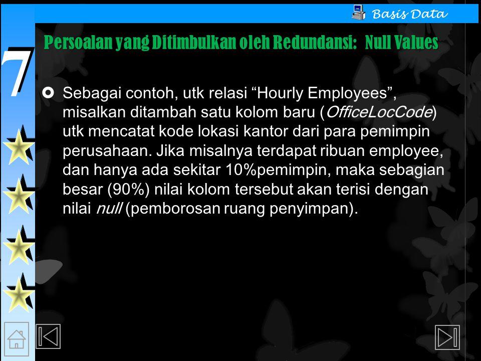 7 7 Basis Data Persoalan yang Ditimbulkan oleh Redundansi: Null Values  Sebagai contoh, utk relasi Hourly Employees , misalkan ditambah satu kolom baru (OfficeLocCode) utk mencatat kode lokasi kantor dari para pemimpin perusahaan.