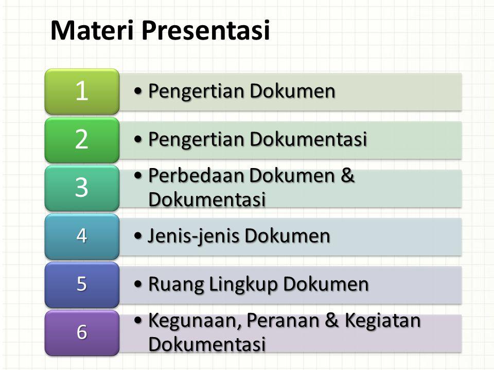 Pengertian DokumenPengertian Dokumen 1 Pengertian DokumentasiPengertian Dokumentasi 2 Perbedaan Dokumen & DokumentasiPerbedaan Dokumen & Dokumentasi 3