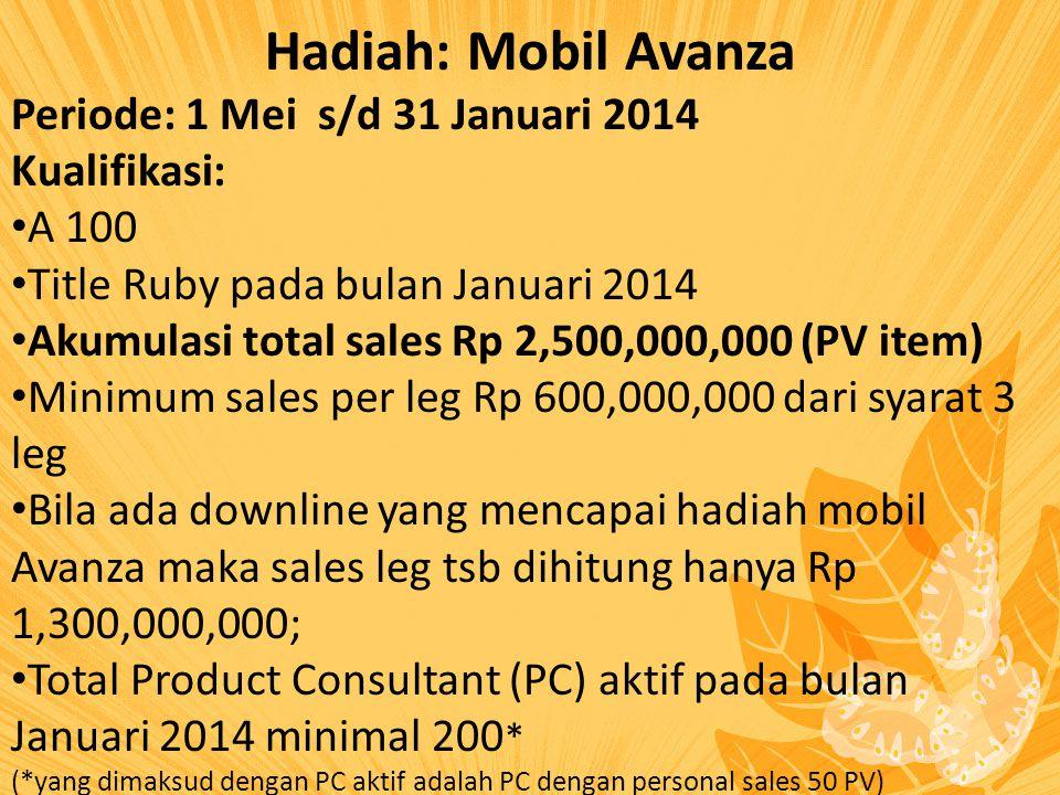 Hadiah: Mobil Avanza Periode: 1 Mei s/d 31 Januari 2014 Kualifikasi: A 100 Title Ruby pada bulan Januari 2014 Akumulasi total sales Rp 2,500,000,000 (