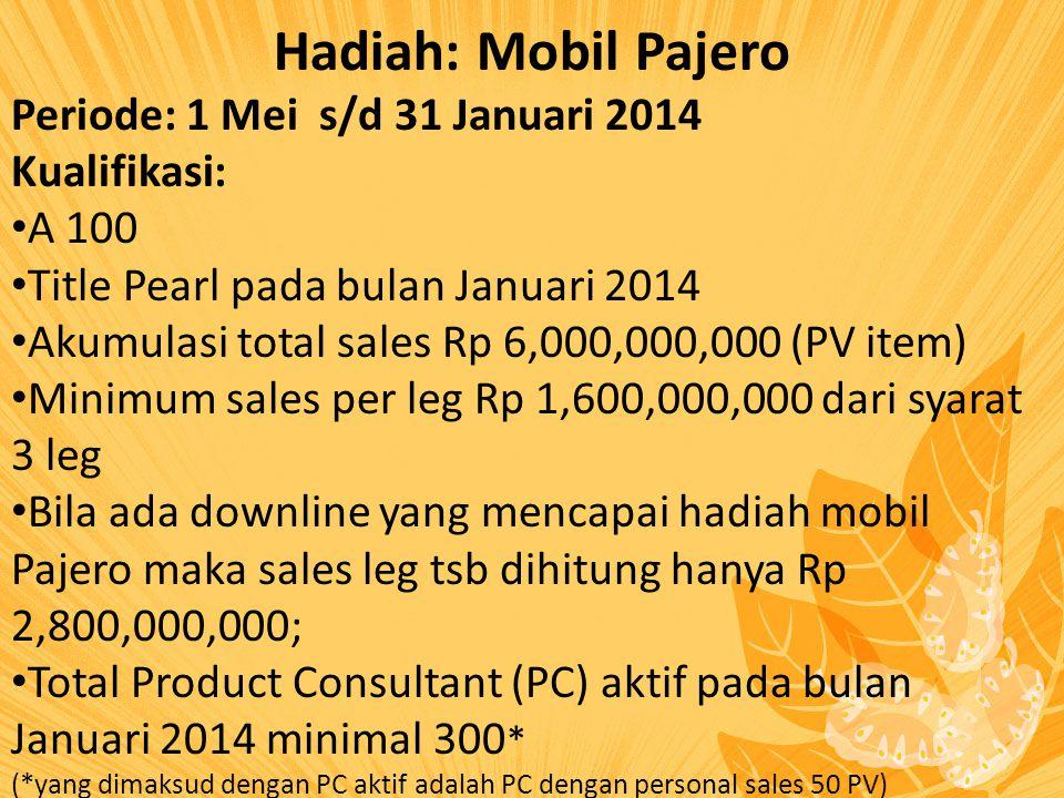 Hadiah: Mobil Pajero Periode: 1 Mei s/d 31 Januari 2014 Kualifikasi: A 100 Title Pearl pada bulan Januari 2014 Akumulasi total sales Rp 6,000,000,000