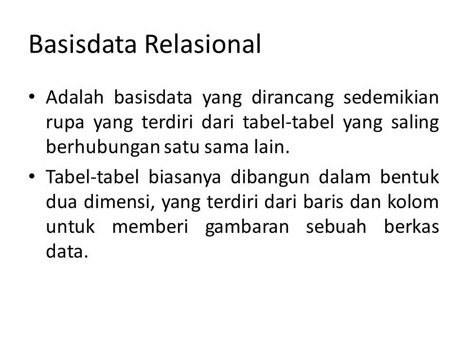 Basisdata Relasional Adalah basisdata yang dirancang sedemikian rupa yang terdiri dari tabel-tabel yang saling berhubungan satu sama lain. Tabel-tabel