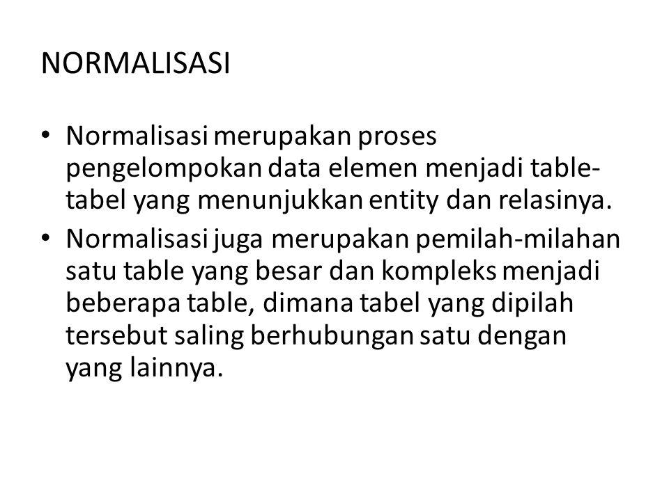 Normalisasi merupakan proses pengelompokan data elemen menjadi table- tabel yang menunjukkan entity dan relasinya. Normalisasi juga merupakan pemilah-