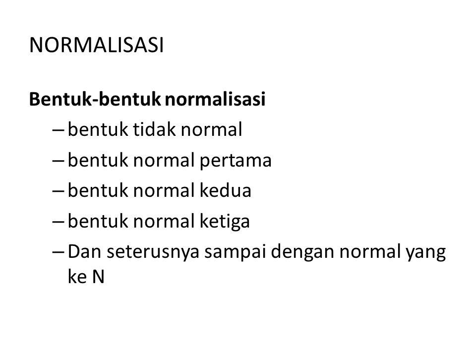 NORMALISASI Bentuk-bentuk normalisasi – bentuk tidak normal – bentuk normal pertama – bentuk normal kedua – bentuk normal ketiga – Dan seterusnya samp