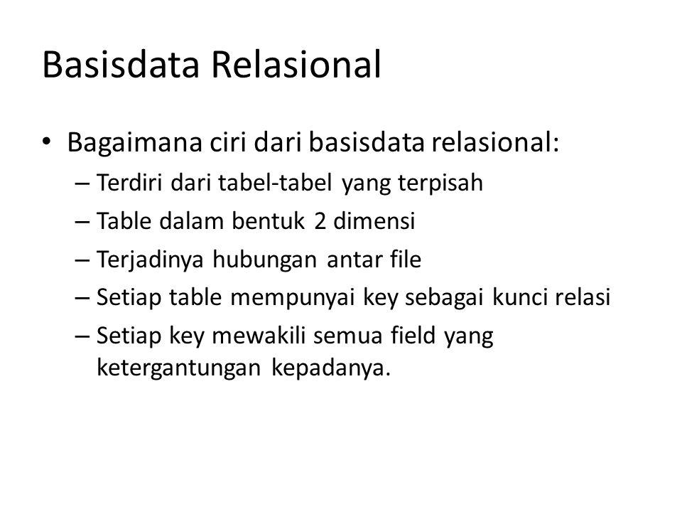 Basisdata Relasional Bagaimana ciri dari basisdata relasional: – Terdiri dari tabel-tabel yang terpisah – Table dalam bentuk 2 dimensi – Terjadinya hu