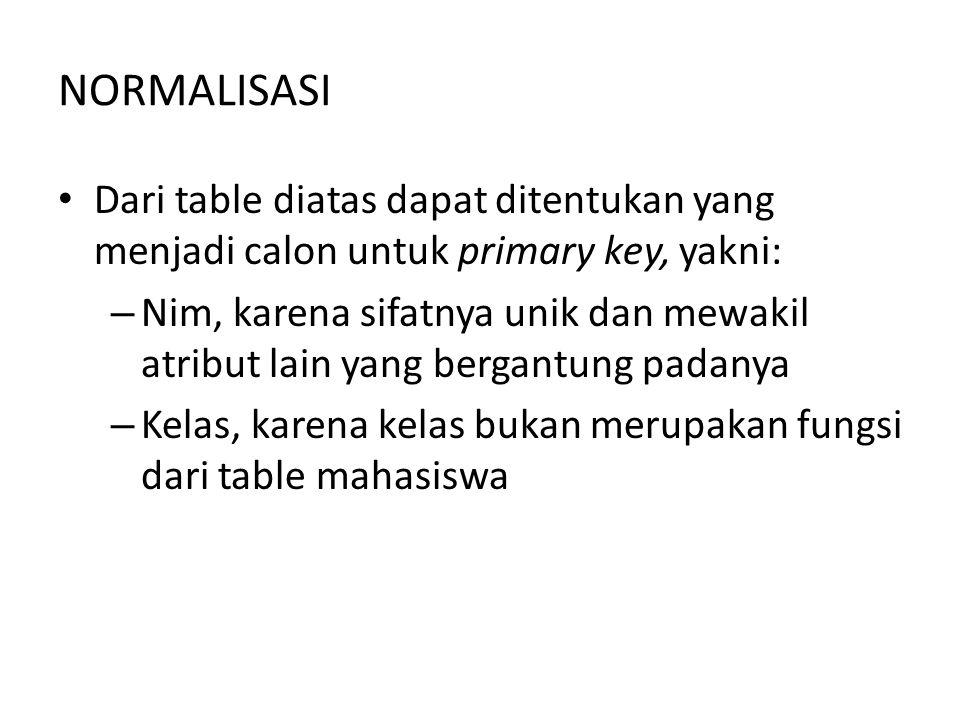 NORMALISASI Dari table diatas dapat ditentukan yang menjadi calon untuk primary key, yakni: – Nim, karena sifatnya unik dan mewakil atribut lain yang