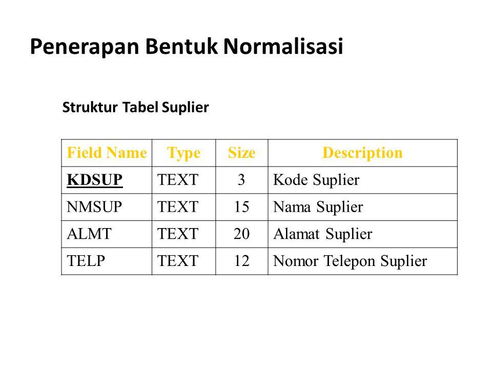 Penerapan Bentuk Normalisasi Field NameTypeSizeDescription KDSUPTEXT3Kode Suplier NMSUPTEXT15Nama Suplier ALMTTEXT20Alamat Suplier TELPTEXT12Nomor Tel