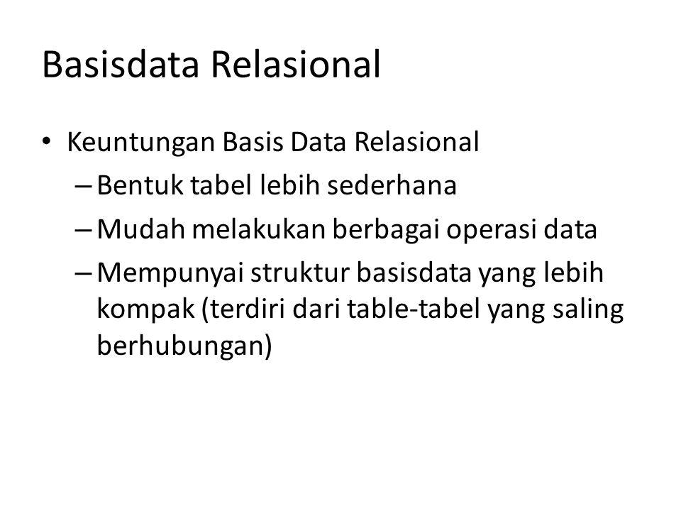 Basisdata Relasional Keuntungan Basis Data Relasional – Bentuk tabel lebih sederhana – Mudah melakukan berbagai operasi data – Mempunyai struktur basi