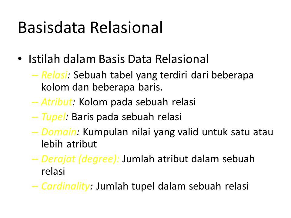 Basisdata Relasional Istilah dalam Basis Data Relasional – Relasi: Sebuah tabel yang terdiri dari beberapa kolom dan beberapa baris. – Atribut: Kolom