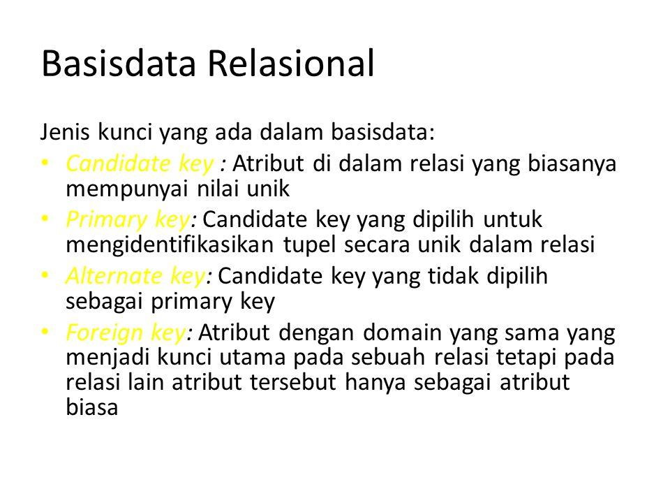 Basisdata Relasional Jenis kunci yang ada dalam basisdata: Candidate key : Atribut di dalam relasi yang biasanya mempunyai nilai unik Primary key: Can