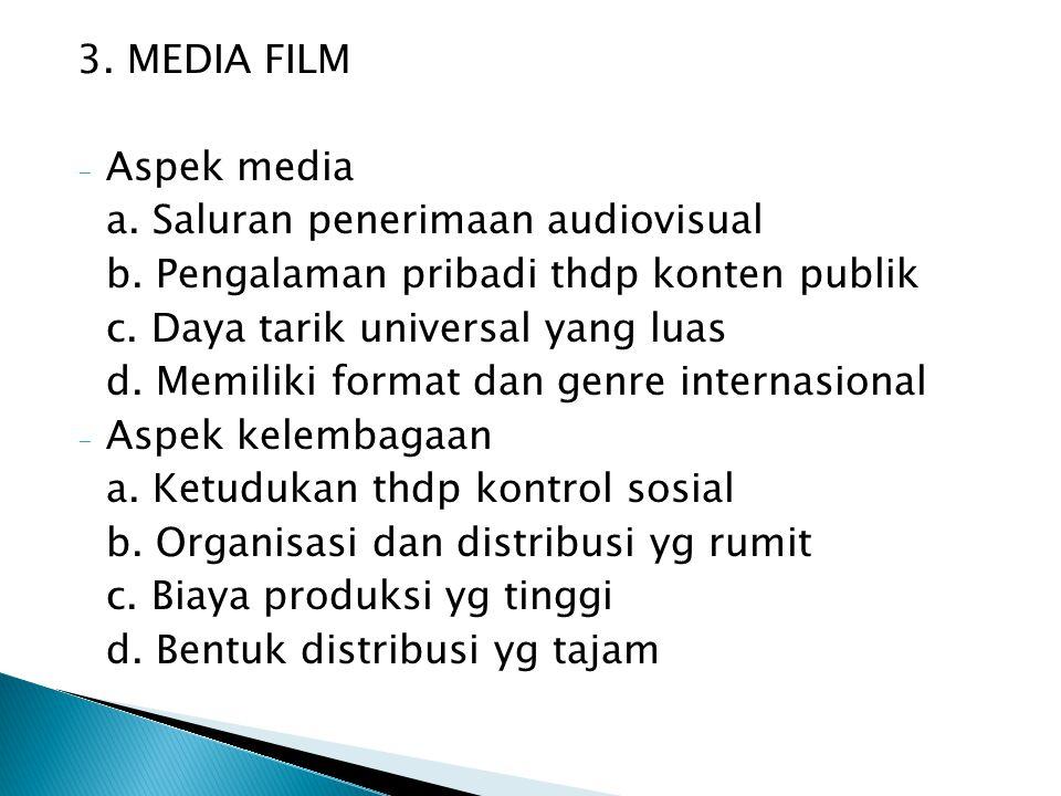 4.TELEVISI - Aspek media a. Memiliki konten yg sangat beragam b.