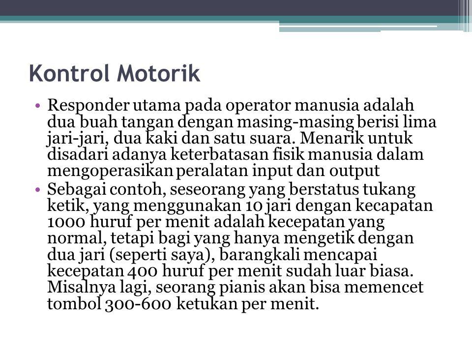 Kontrol Motorik Responder utama pada operator manusia adalah dua buah tangan dengan masing-masing berisi lima jari-jari, dua kaki dan satu suara. Mena
