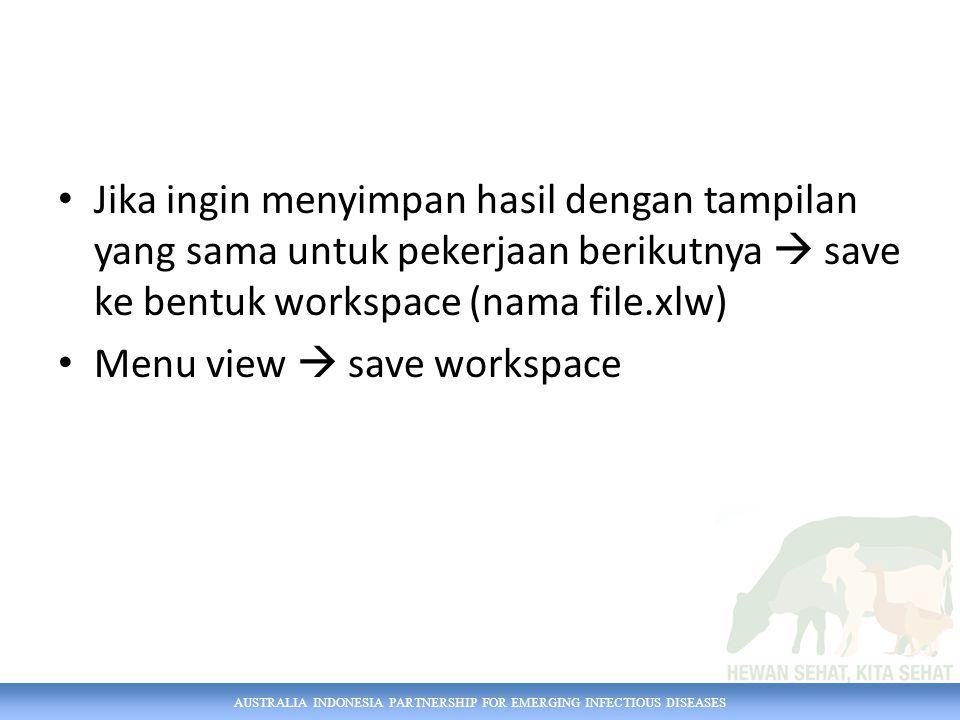 AUSTRALIA INDONESIA PARTNERSHIP FOR EMERGING INFECTIOUS DISEASES Jika ingin menyimpan hasil dengan tampilan yang sama untuk pekerjaan berikutnya  sav
