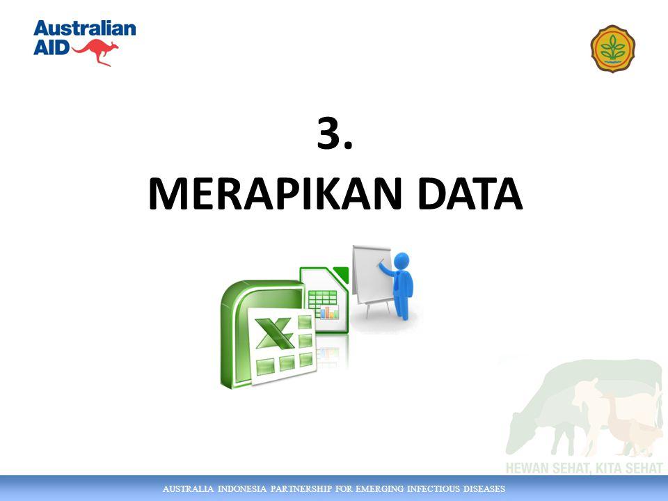 AUSTRALIA INDONESIA PARTNERSHIP FOR EMERGING INFECTIOUS DISEASES Excel Dasar Section 1 Prinsip pengelolaan data Section 2 Keterampilan Excel dasar Section 3 Merapikan Data Section 4 Menyiapkan Keluaran/ Outputs