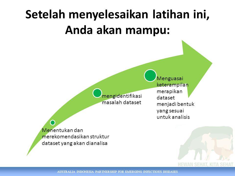 AUSTRALIA INDONESIA PARTNERSHIP FOR EMERGING INFECTIOUS DISEASES Setelah menyelesaikan latihan ini, Anda akan mampu: Menentukan dan merekomendasikan s