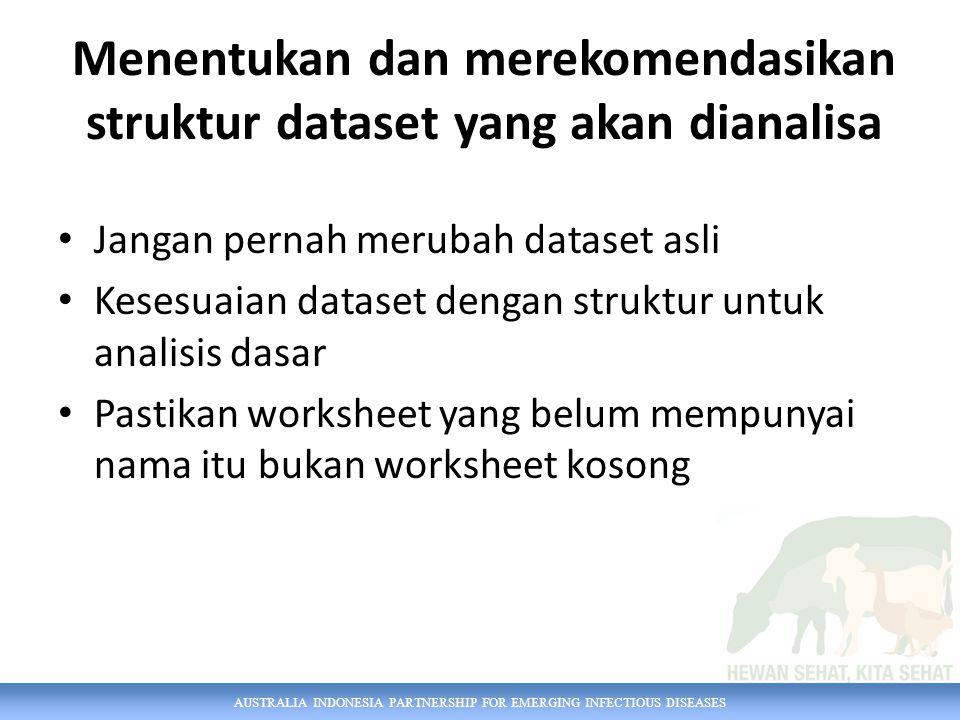 AUSTRALIA INDONESIA PARTNERSHIP FOR EMERGING INFECTIOUS DISEASES Mengidentifikasi Masalah Dataset Cek apakah ada : -Sel yang kosong -merge cell -wrap text -hide -kolom yang berulang/kolom yang berisi data yang tidak diperlukan untuk analisa -Dalam satu kolom terdapat informasi yang berbeda -text to columns