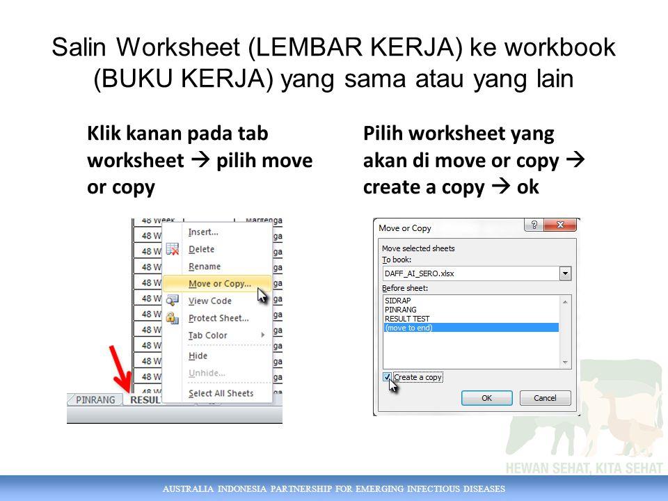 AUSTRALIA INDONESIA PARTNERSHIP FOR EMERGING INFECTIOUS DISEASES Ganti nama worksheet Klik kanan pada tab worksheet  rename Atau double click pada tab worksheet