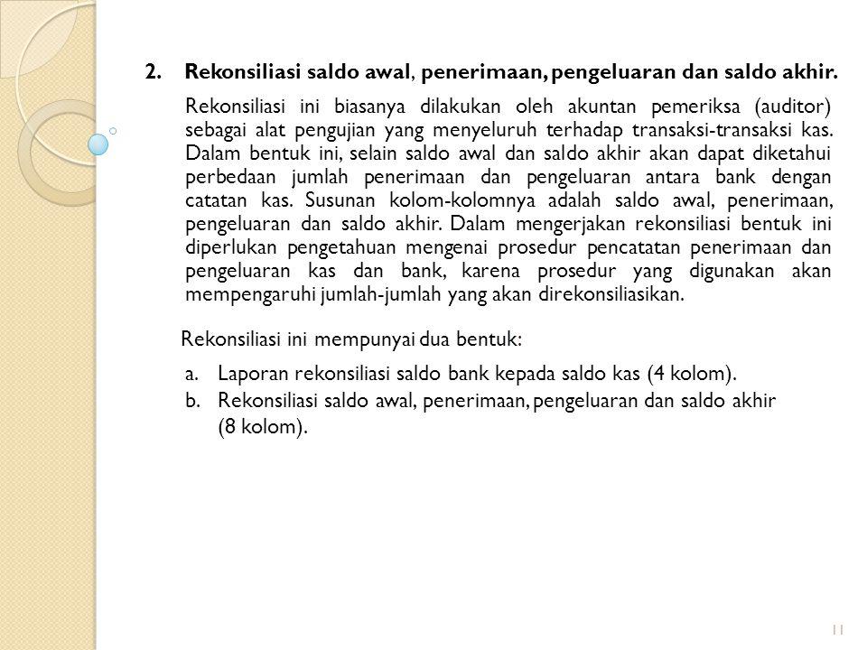 2.Rekonsiliasi saldo awal, penerimaan, pengeluaran dan saldo akhir.